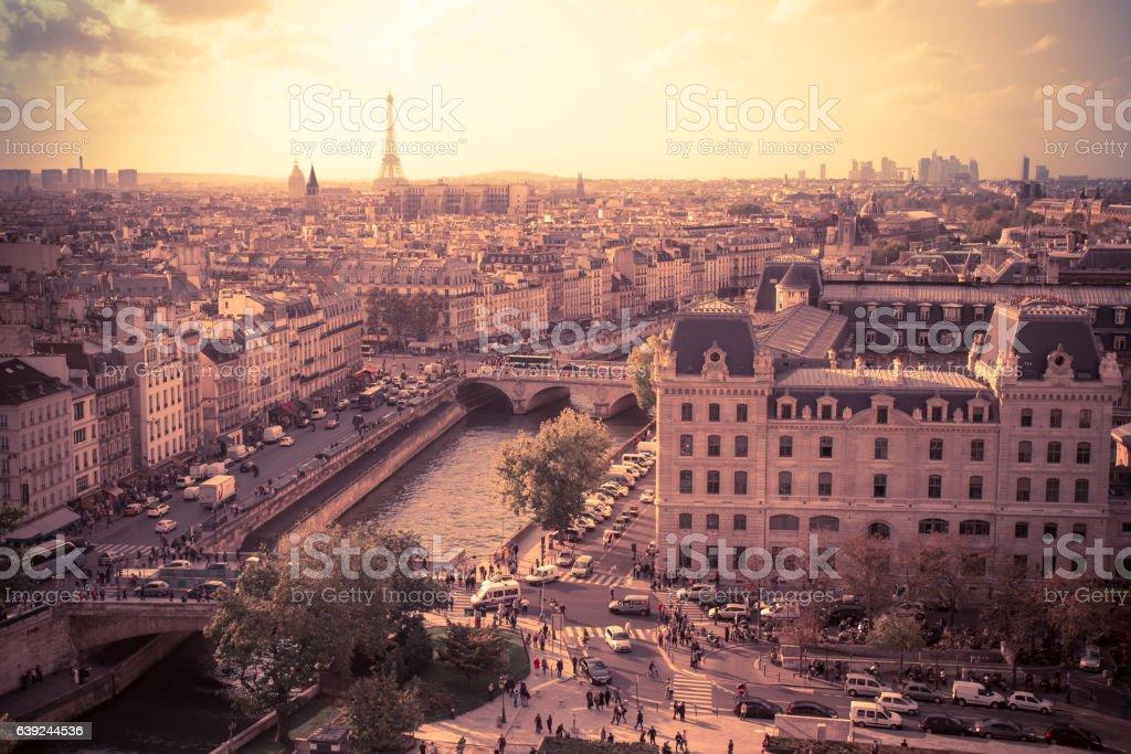 Paris Sunset View stock photo