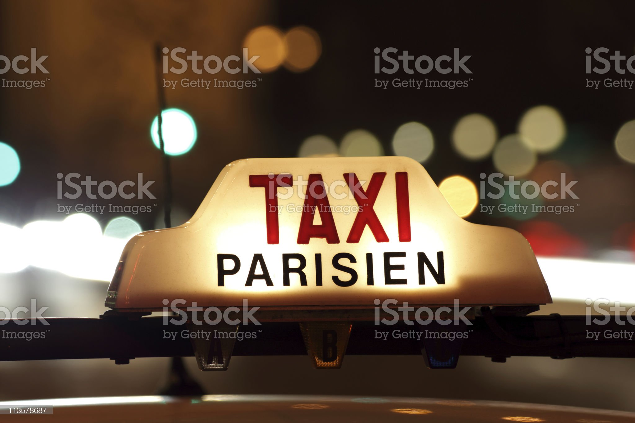 Paris taxi by the Arc de Triomphe royalty-free stock photo