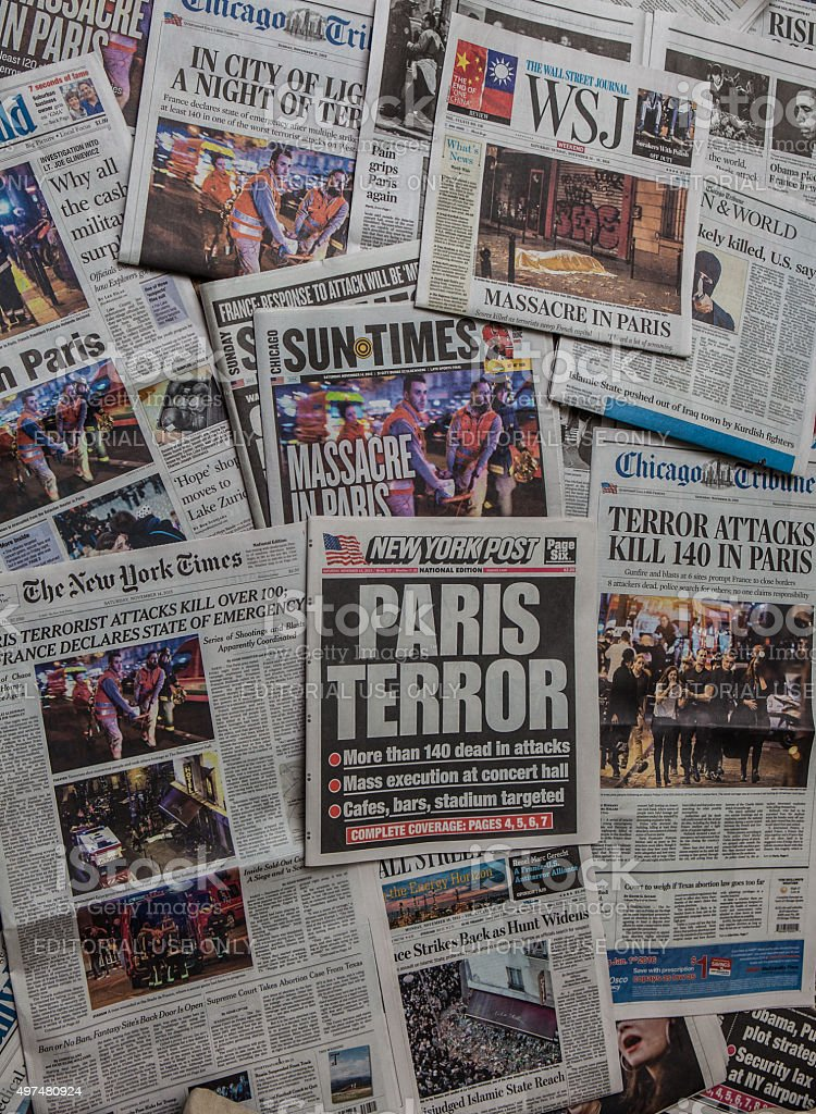 Paris Terror Attack headline collage stock photo