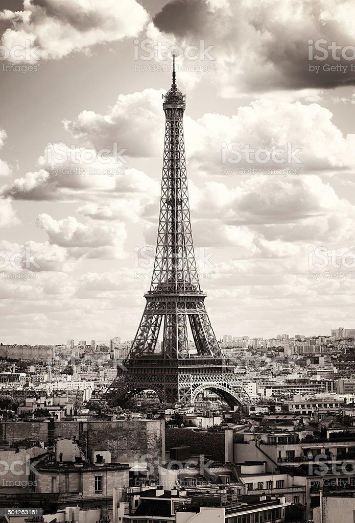 Paris La Tour Eiffel sepia royalty-free stock photo