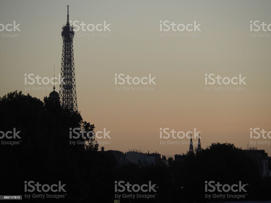 Paris. The Eiffel Tower taken from the river Seine. stock photo