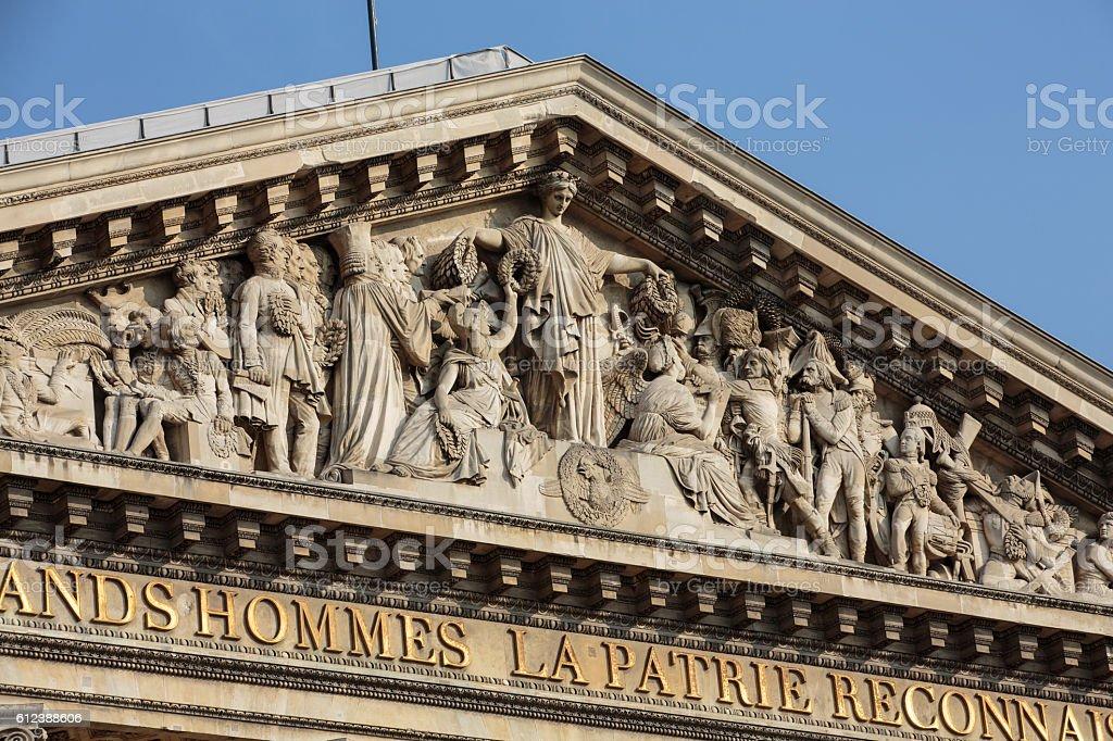 Paris - The pediment of Pantheon. stock photo