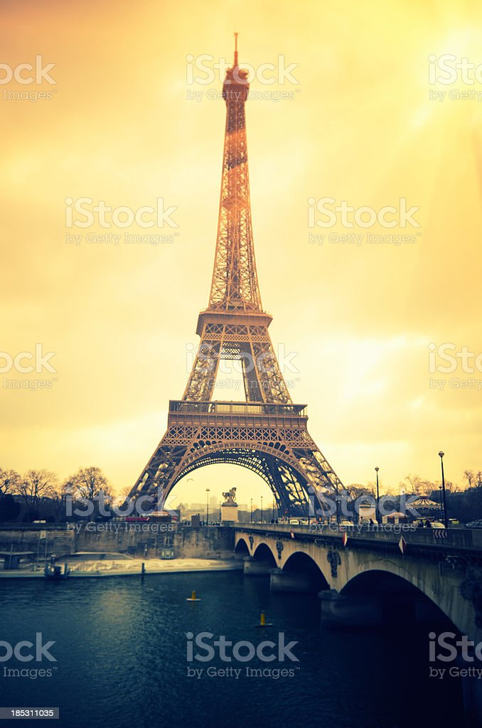 Paris Tour Eiffel and the river Seine royalty-free stock photo