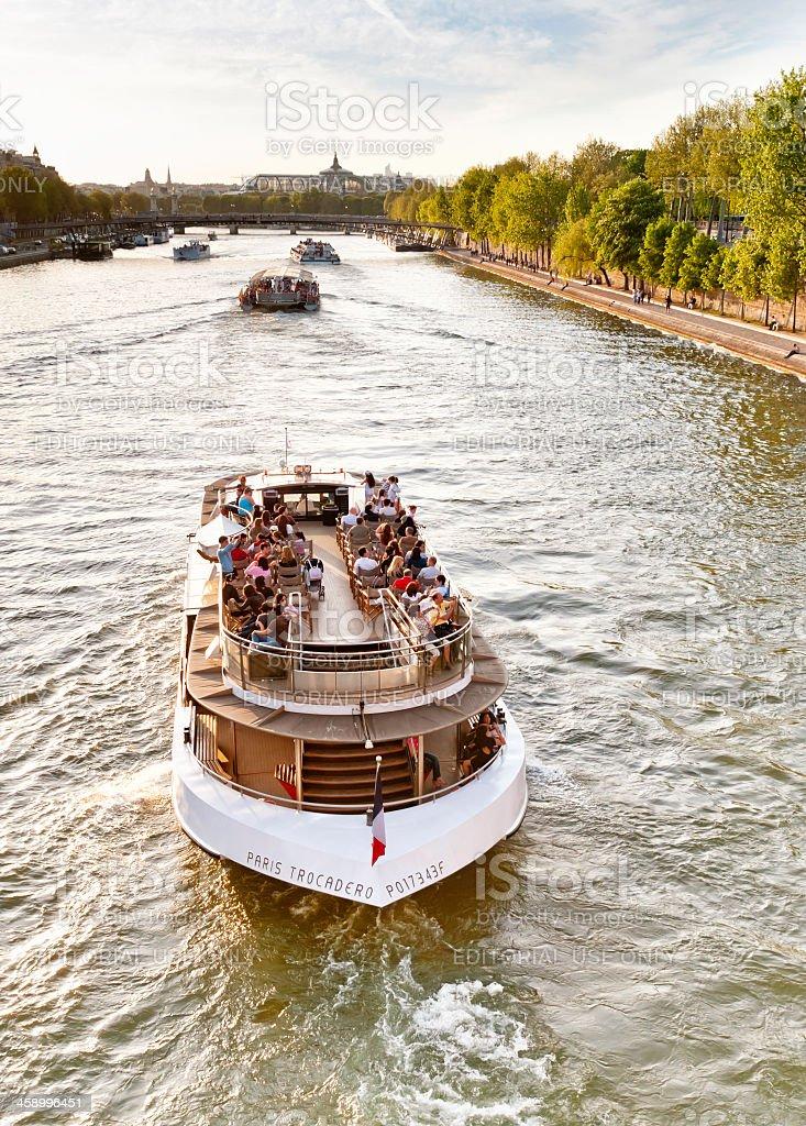 Paris tourist ships on the Seine stock photo