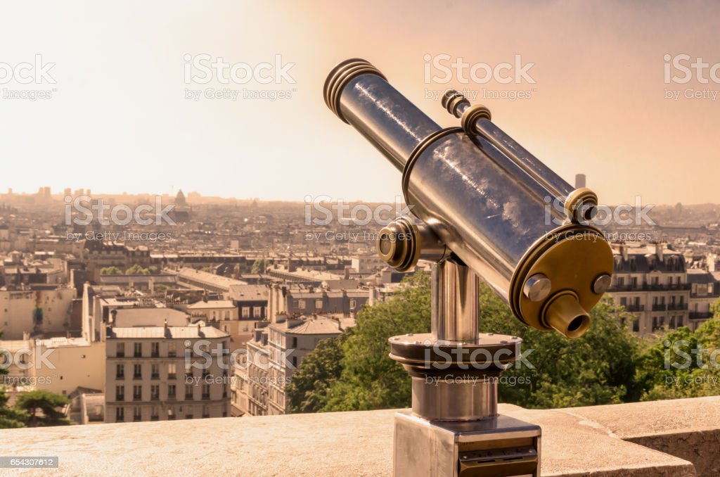 Paris tourist telescope stock photo