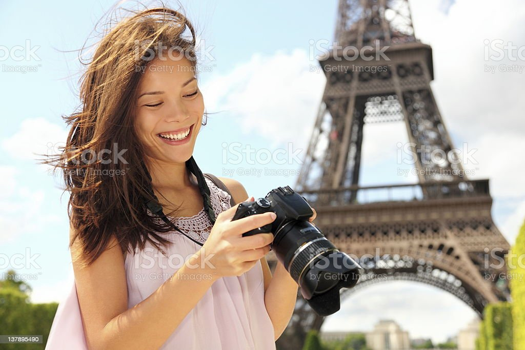 Paris tourist with camera stock photo