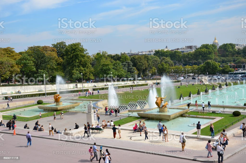 Paris - Tourists visiting the Fountains at Tracadero. stock photo