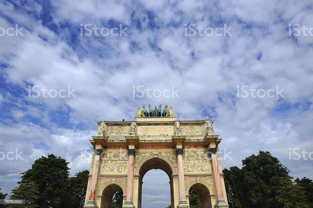 Paris Triumphal Arch Arc de Triomphe du Carrousel  Front Bottom stock photo