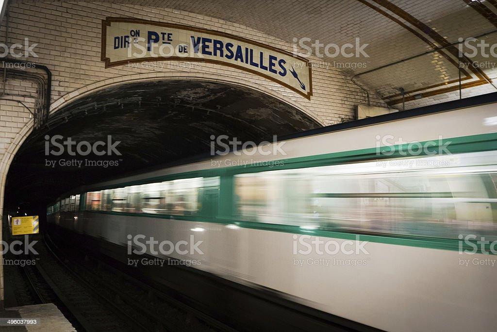 Paris underground, at Pte. de Versailles stop stock photo