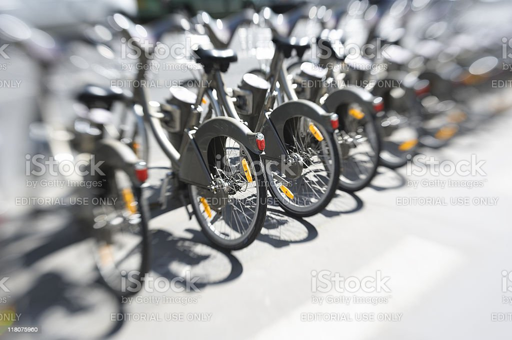 Paris Velib Bikes - City Hire Bicycles Parked In Row stock photo