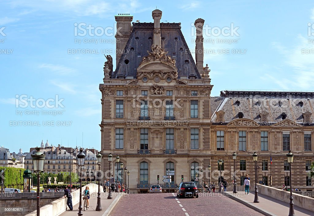Paris - View of the Louvre from the bridge stock photo