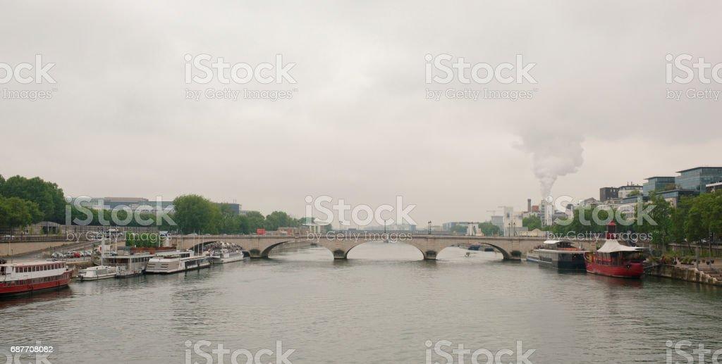 Paris. View of Tolbiac bridge on the river Seine stock photo