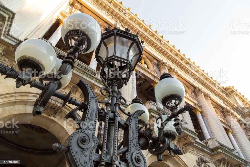 Paris vintage lantern on the buildings background stock photo
