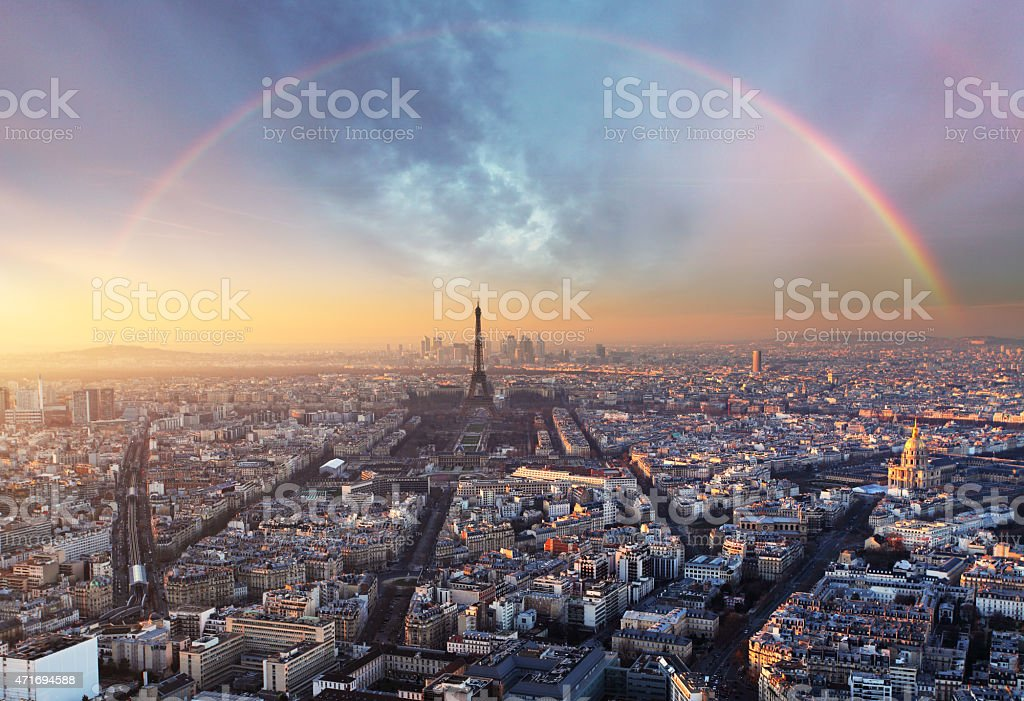 Paris with rainbow - skyline stock photo