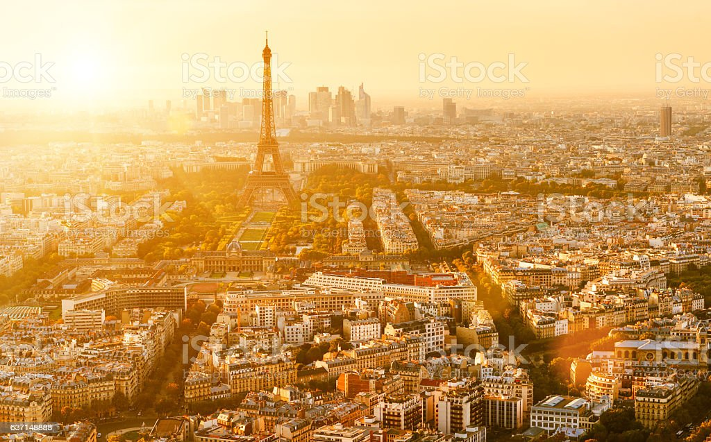 Paris with the Eiffel tower skyline stock photo