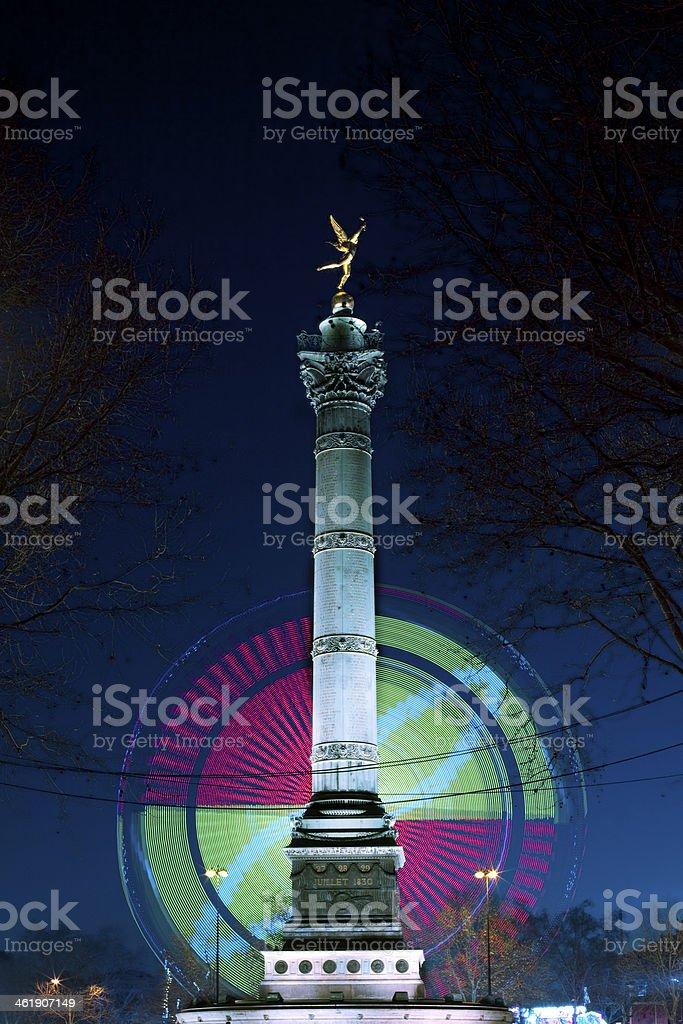 Paris,Bastille,Colonne,Place,Fête,Foraine, stock photo