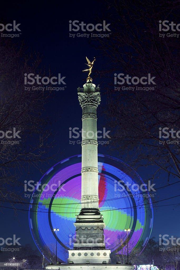 Paris,Bastille,Place,Fête Foraine,Nuit stock photo
