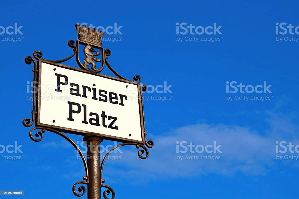 Pariser Platz Sign - Berlin, Germany stock photo