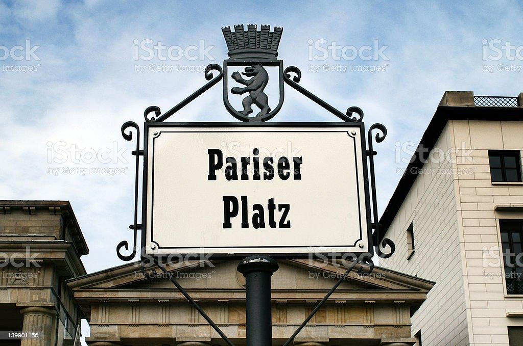 Pariser Platz sign royalty-free stock photo