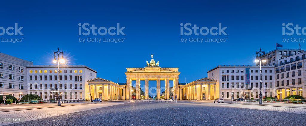 Pariser Platz with Brandenburger Tor at dawn, Berlin, Germany stock photo