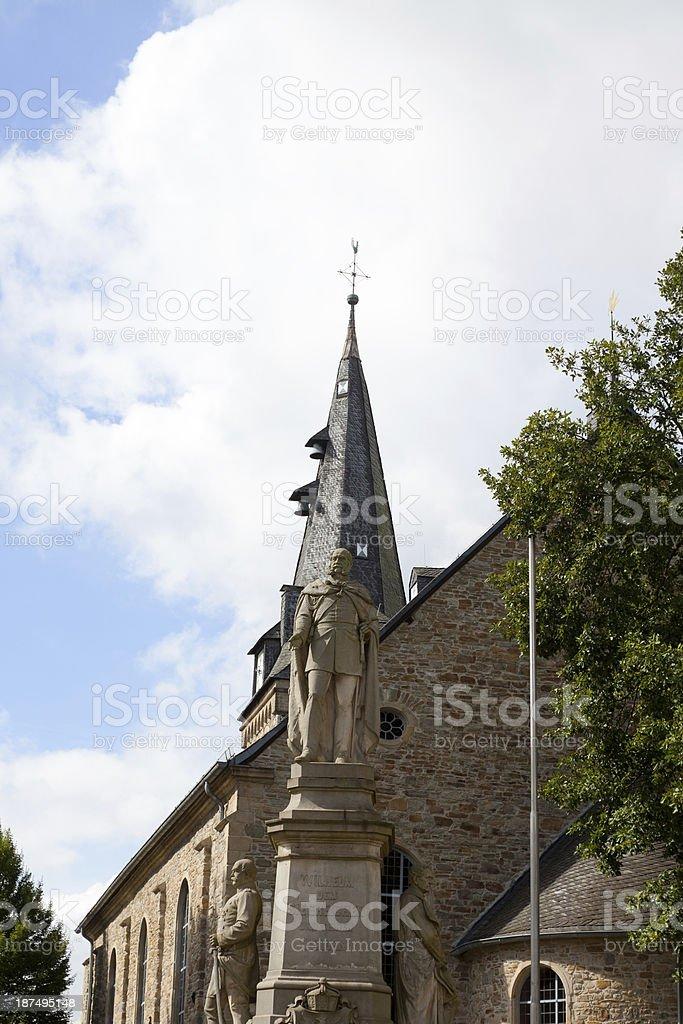 Parish church and Emperor Wilhelm I monument stock photo