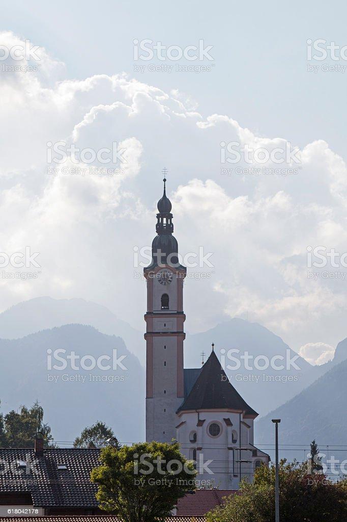 parish church of St. Martin in Flintsbach stock photo