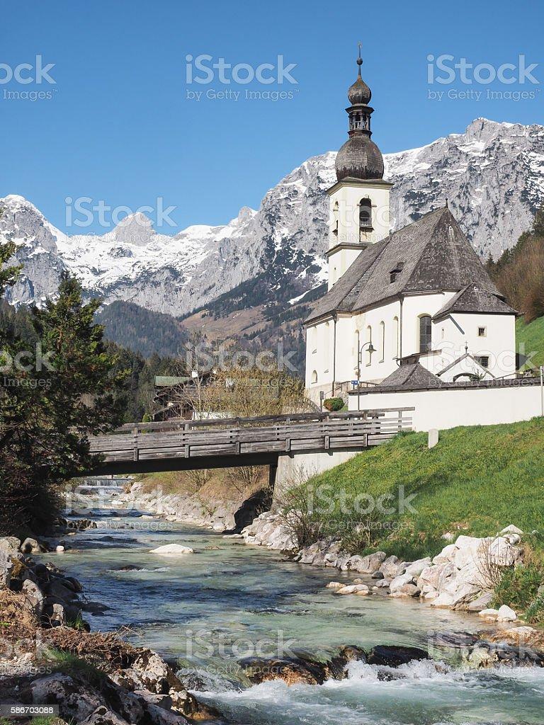 Parish church St. Sebastian in Ramsau, Bavarian Alps, Germany stock photo