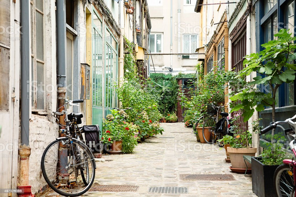 Parisian alley with potted plants and bicycles stock photo