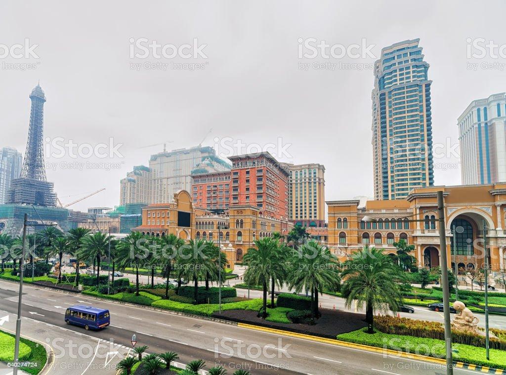 Parisian and Venetian Macau Hotel and Casino luxury resort stock photo
