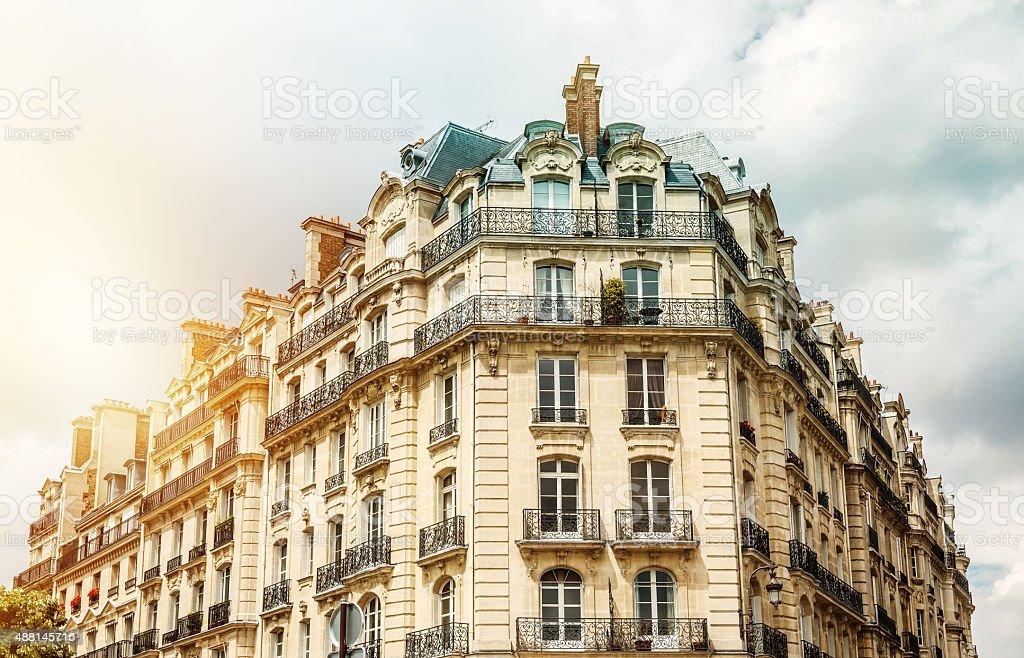Parisian apartment building stock photo