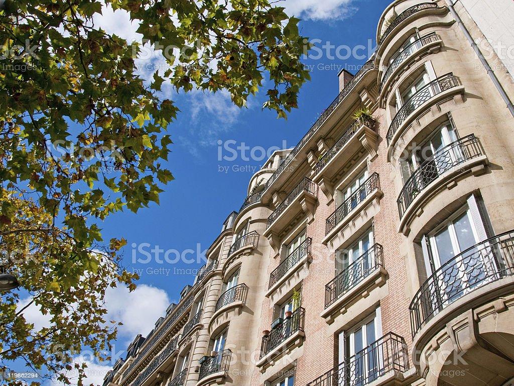 Parisian Apartment with Tree royalty-free stock photo