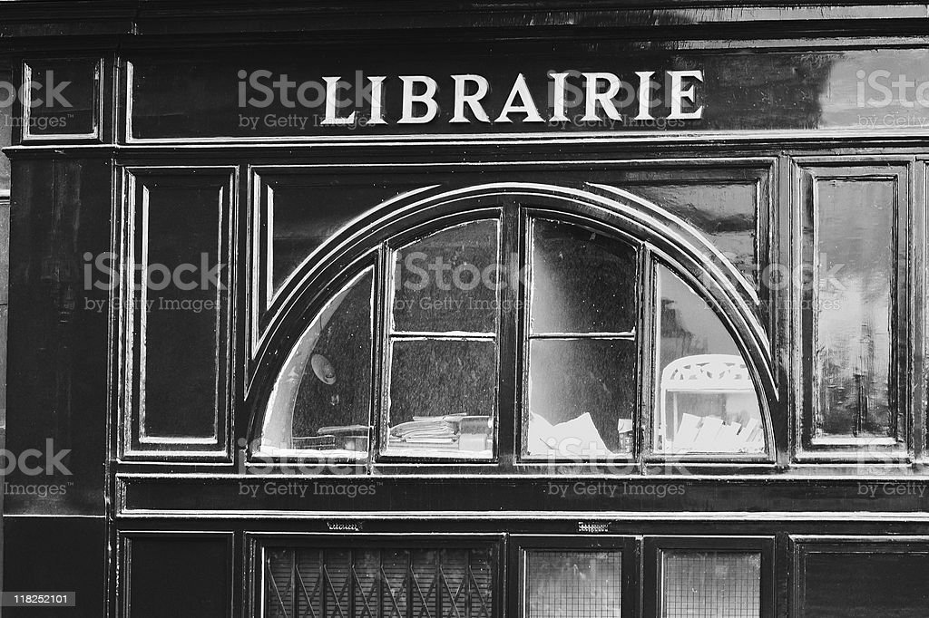 Parisian Bookstore Library Black and White royalty-free stock photo