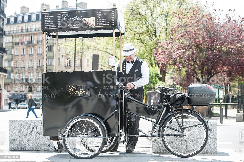 Parisian crepes street vendor stock photo