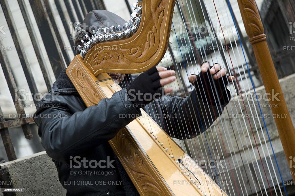 Parisian Harpist stock photo