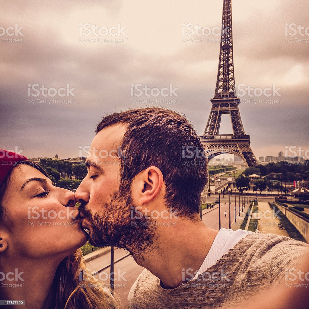 Parisian selfie stock photo