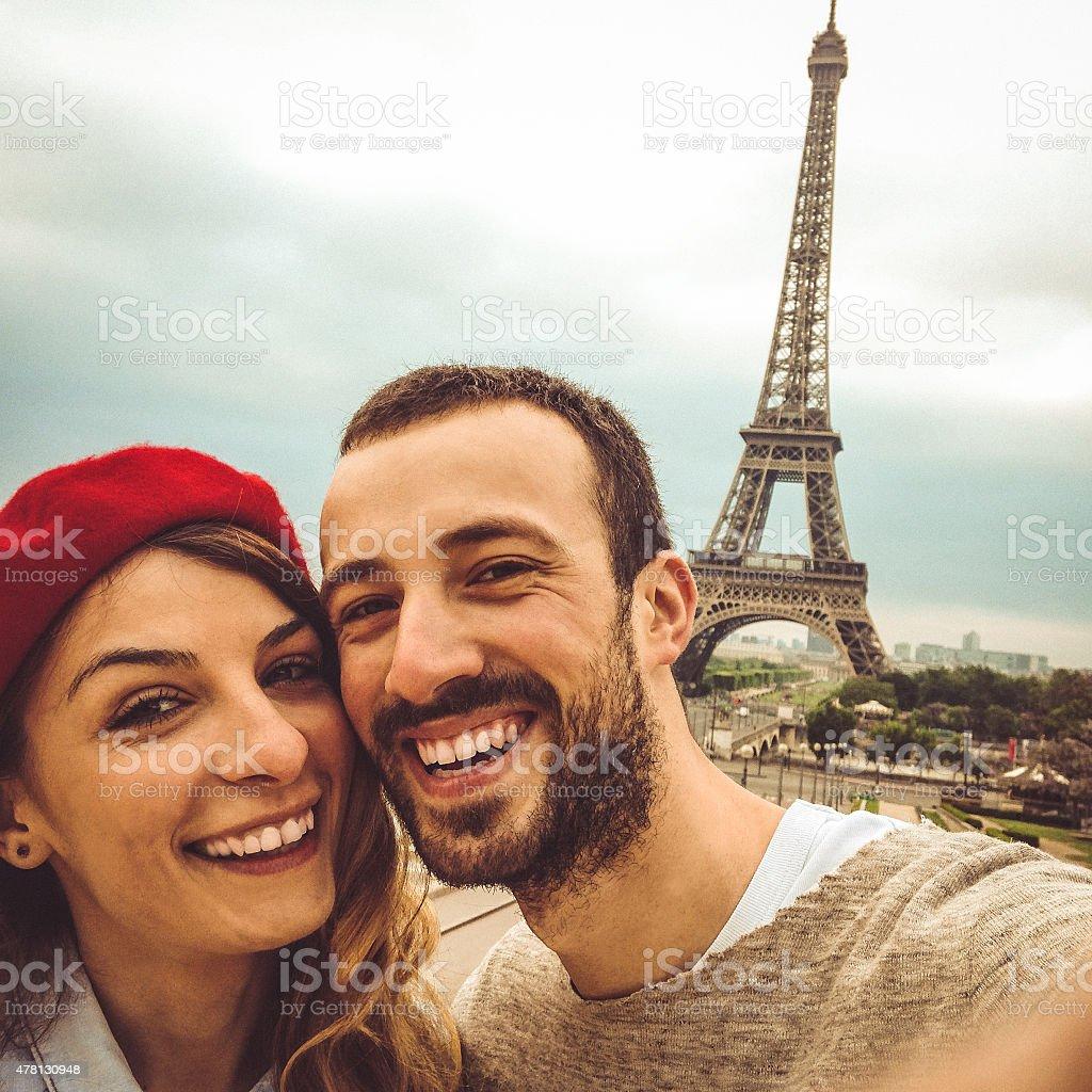 Parisian selfie stock photo