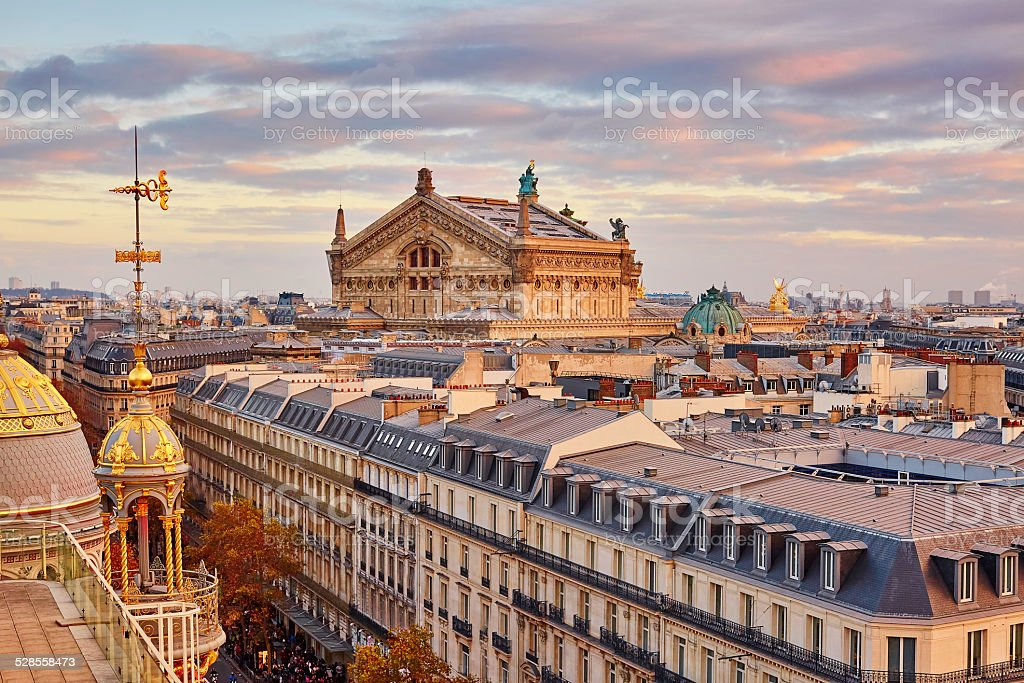 Parisian skyline with Opera Garnier at sunset stock photo