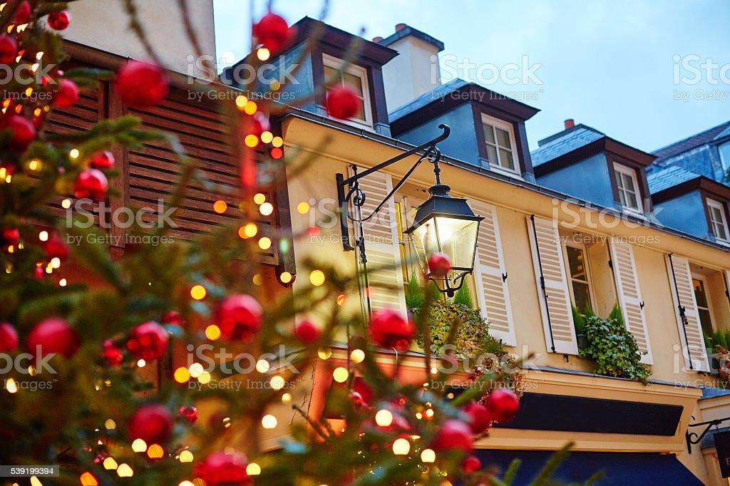 Parisian street decorated for Christmas stock photo