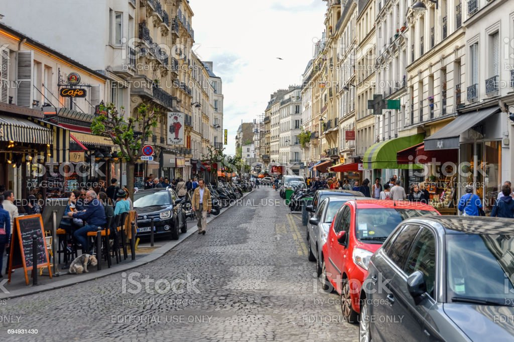Parisian street scene and architecture stock photo