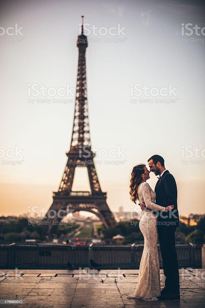 Parisian wedding kiss stock photo