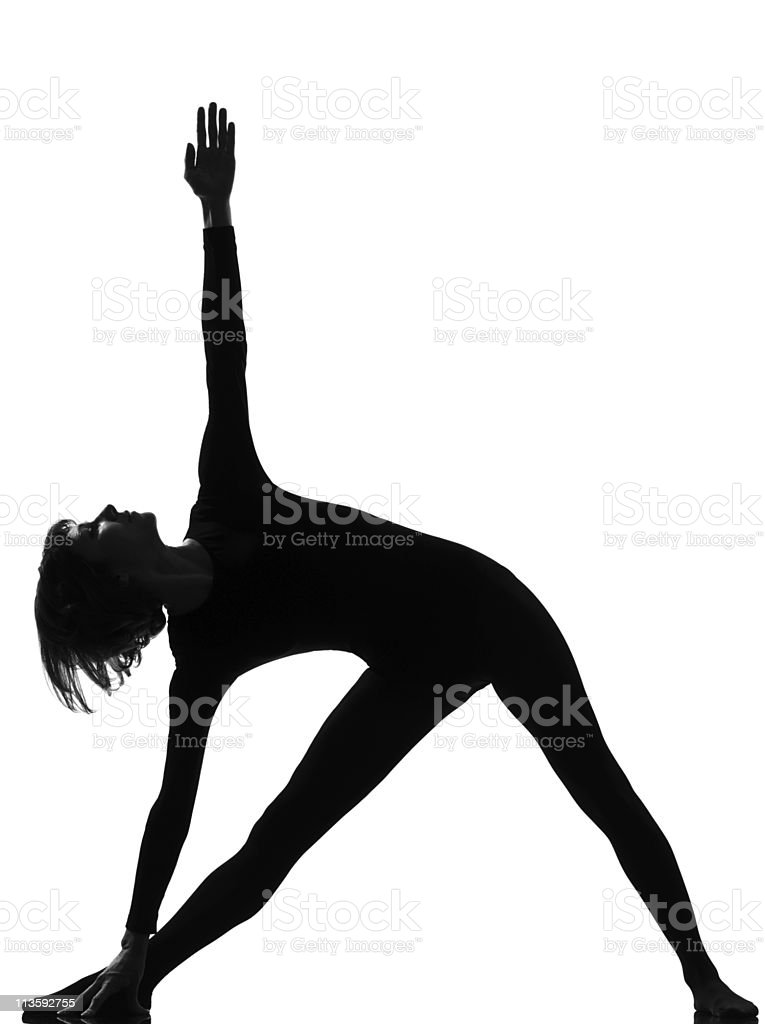 parivritta trikonasana woman yoga triangle pose stock photo