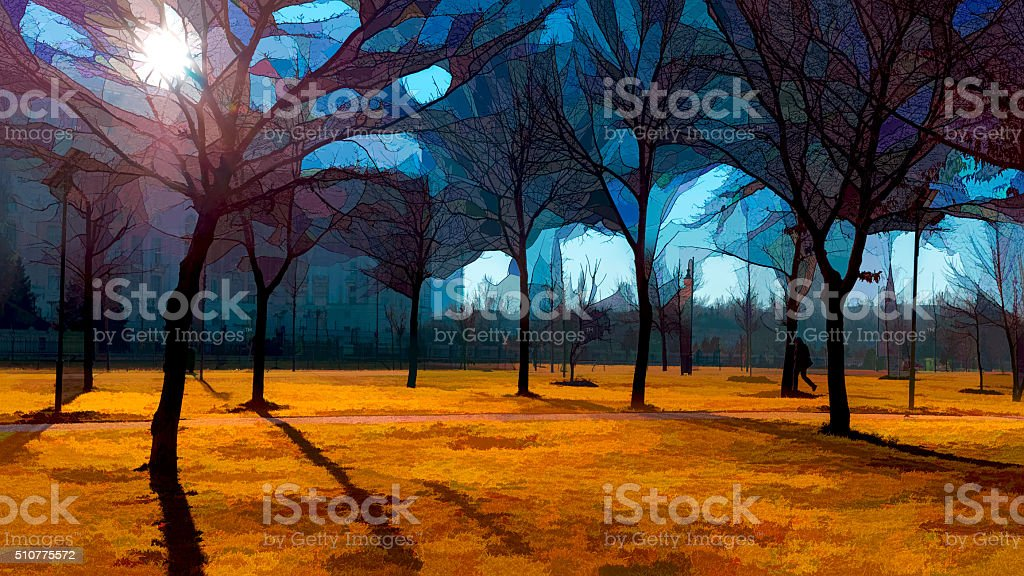 Park alley,  late autumn stock photo