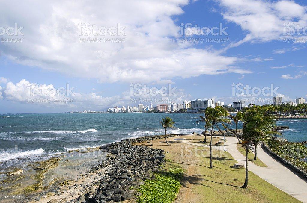 Park and beach in San Juan, Puerto Rico stock photo