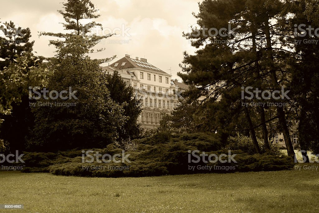 park and building royalty-free stock photo