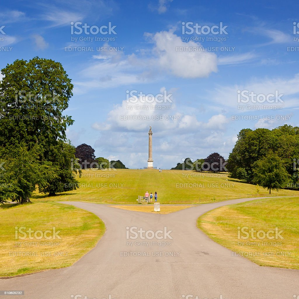 Park and Column of Victory at Blenheim Palace, Woodstock, England. stock photo