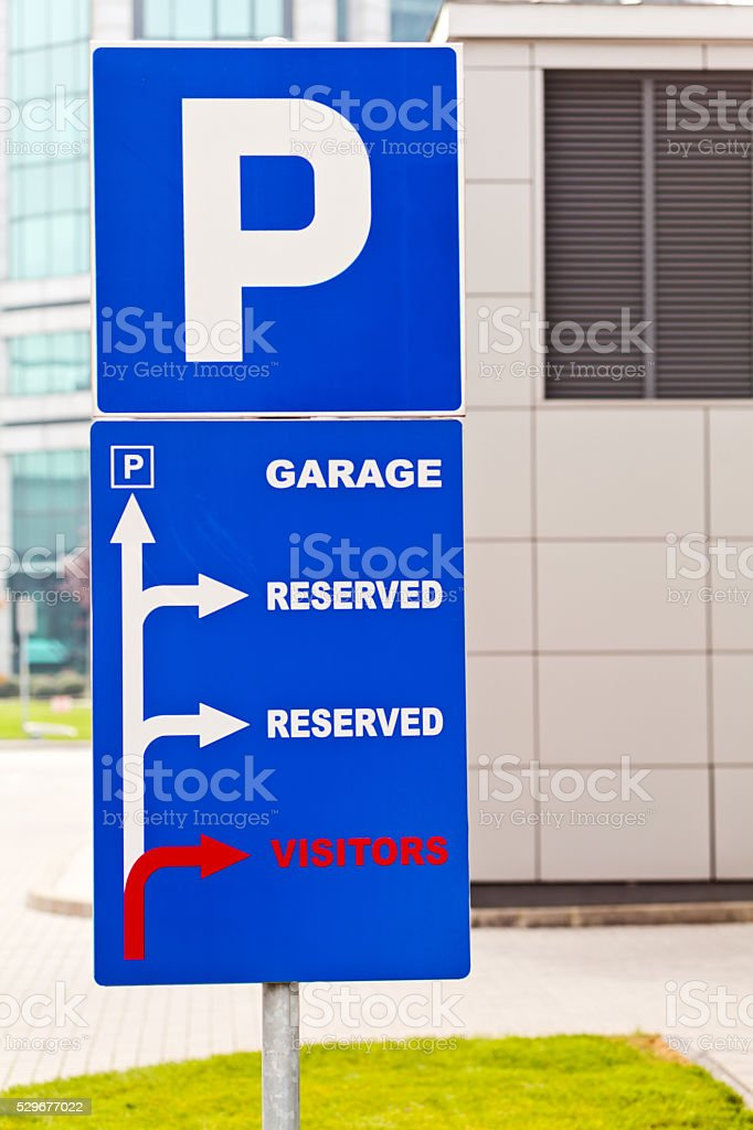 Park and garage sign stock photo