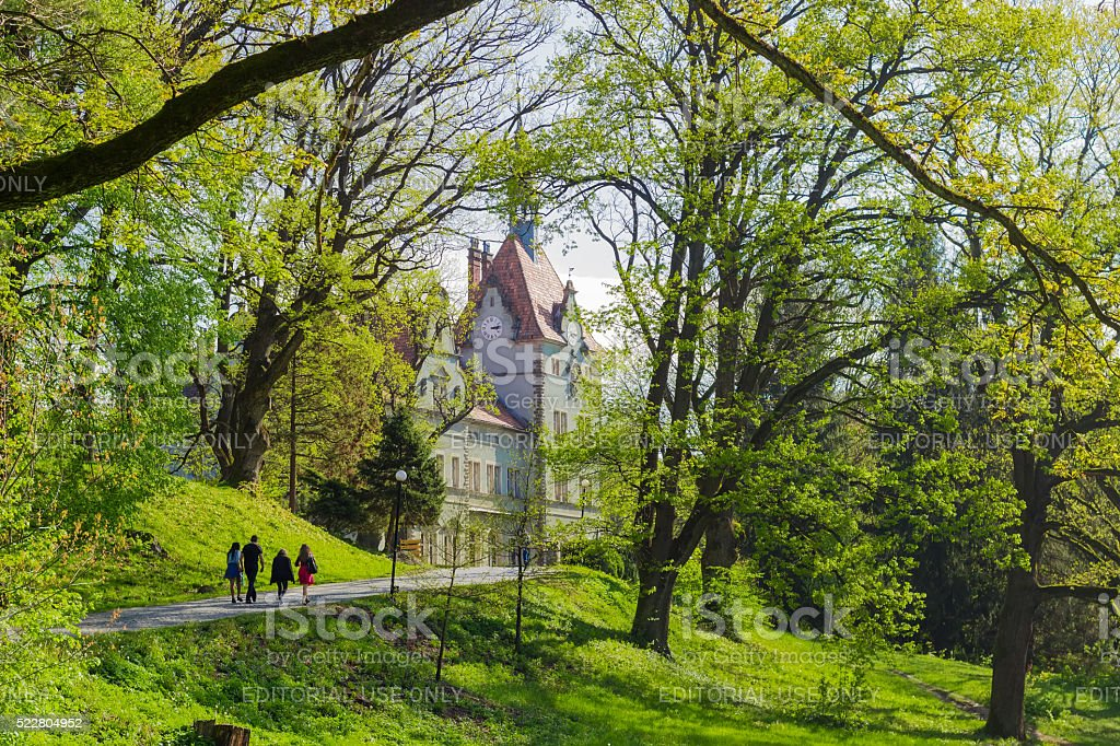 Park and house hunting Count Schonborn in spring day stock photo