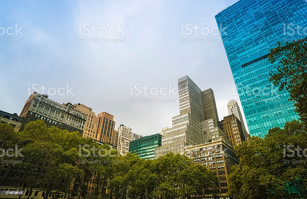 Park and New York City skyline royalty-free stock photo