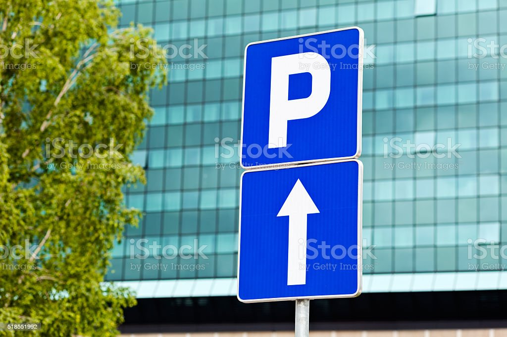 Park and one direction sign stock photo