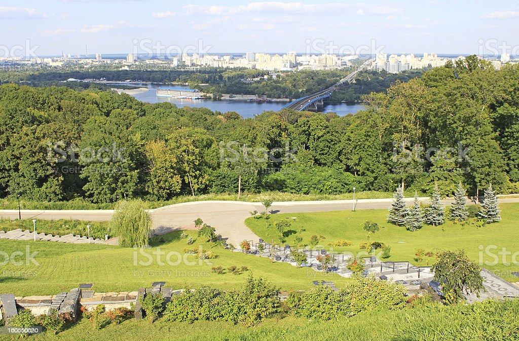 Park and panorama of Kiev, Ukraine royalty-free stock photo